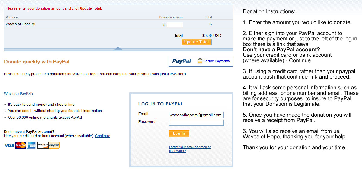 PayPal Donation Instructions - Info Graphic